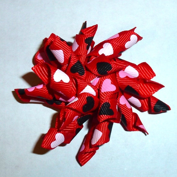 Puppy Bows ~ Valentine's day heart korker corky spiral barrette or bands pet dog bow