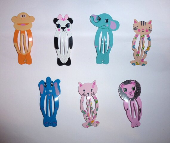 Puppy Bows ~ Set of 10 dog bow animal snap clips Monkey, elephant, panda bear and more!