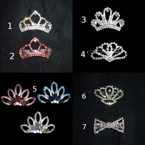 Puppy Bows ~ Rhinestone TIARA multi styles dog hair barrette clip CRYSTAL styles 1-7 ~USA seller