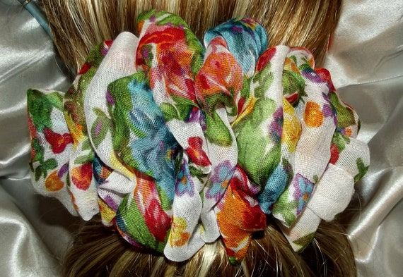 Becky Bows ~  Barrette scarf Hand crafted oversized  BIG hair bow Women or Girls orange floral white