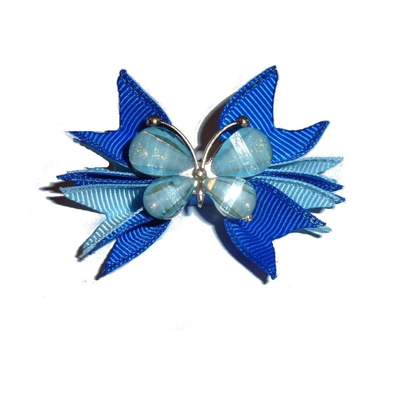 Butterfly pinwheels blue for boys   barrette or bands pet dog bow  (FB74)
