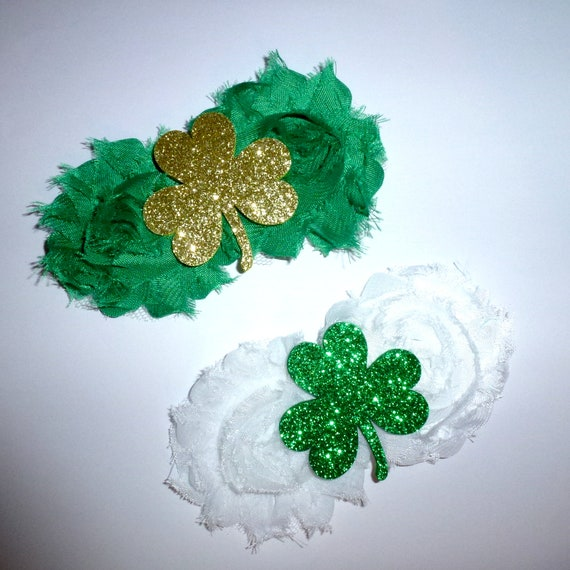 Puppy Bows ~  St. Patrick's Day  dog bow  collar slide shamrock dog accessory green white clover ~USA seller (DC4)
