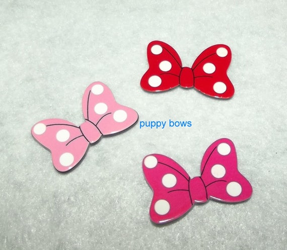 "Puppy Bows ~ Dog bow TINY 1"" MINNIE mouse  pink red polka dot pet hair barrette clip or latex bands ~ (fb74)"