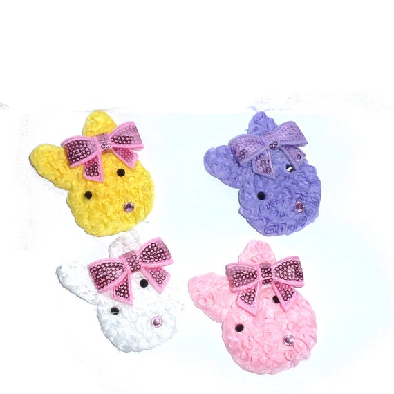 Puppy Bows ~ Easter bunny rabbit shabby chic dog collar slide accessory attachment hair barrette  ~USA seller (fb129)