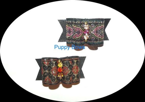 Puppy Bows ~GOLD PURPLE BROCADE show dog bow  pet bands, hair clip or  barrette    (fb29)