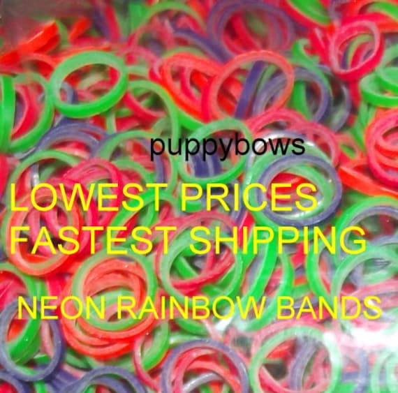 Puppy Bows ~ NEON rainbow Dog Grooming Bands ~SMALL quantity bags elastic dog bows bow TOPKNOT band ~Usa seller