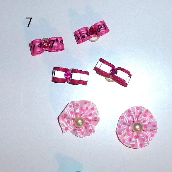 "Puppy Bows ~WEE TINY 3/8"" show bows pairs dog bow  pet hair clip barrette or latex bands (set7)"