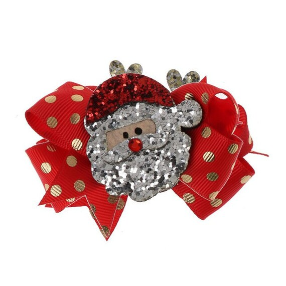 Puppy Bows ~SPECIAL SALE! Christmas penguin Santa Claus dog barrette bow hair clips for pets ~USA seller (fb166)