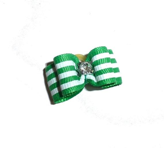 Puppy Dog Bows ~ Kelly green white stripes pet hair bow barrettes  (fb79)