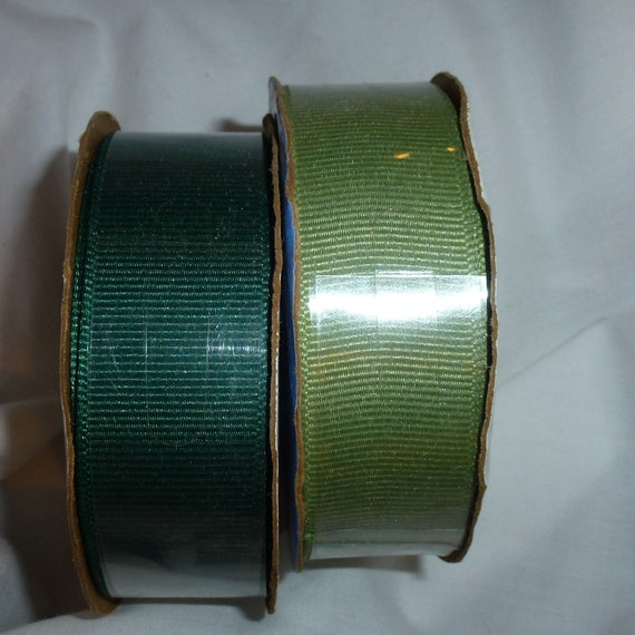 "Puppy Bows ~ ribbon craft supplies 7/8"" grosgrain hunter green olive green 6 yards each  (lot14)"