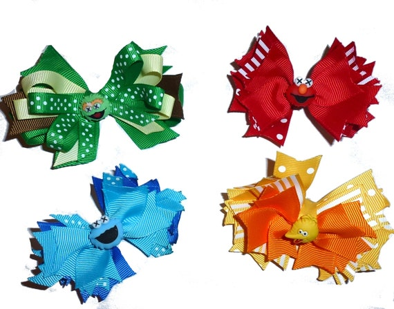Puppy Bows ~ Street characters bird grouch cookie bow tie dog collar slide accessory or hair bow large dogs  (fb158)