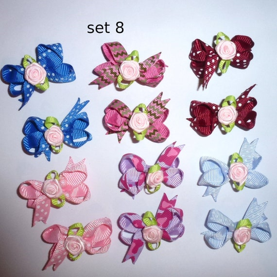Puppy Bows ~ 12 twisted boutique rose dog bow for girls - pairs dog grooming pet hair bows - set 8