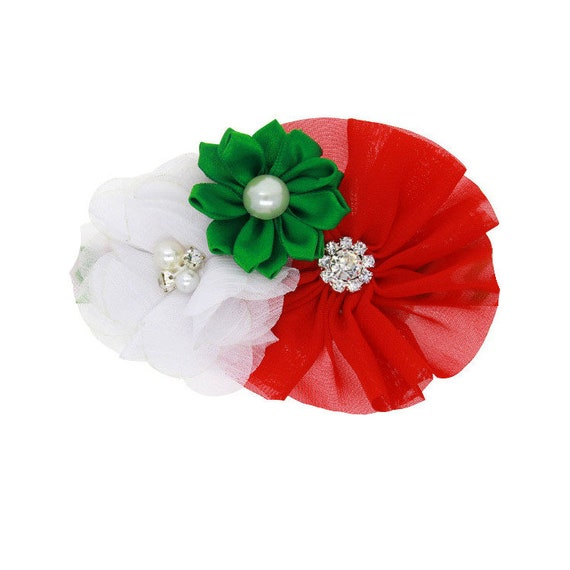 Puppy Bows ~  dog bow Christmas collar slide flower red green white  ~USA seller (fb162)