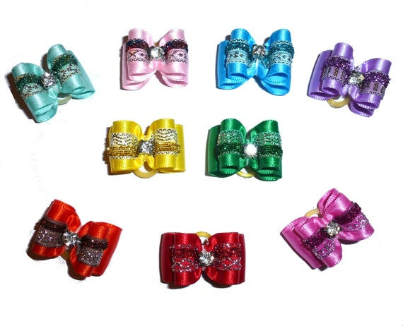 """Puppy Dog Bows ~ 7/8"""" satin velvet sparkle overlay  pet hair show bow barrettes or bands (FB313)"""