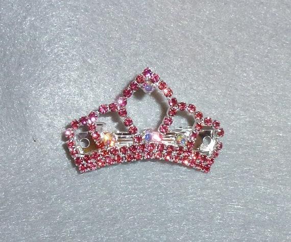 Puppy Bows ~ PINK TIARA rhinestones dog bow  pet hair clip topknot barrette