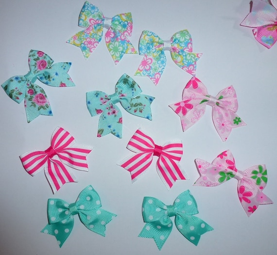 Puppy Bows ~ 10 dog bow for girls - pairs dog grooming pet hair bows - (218k)