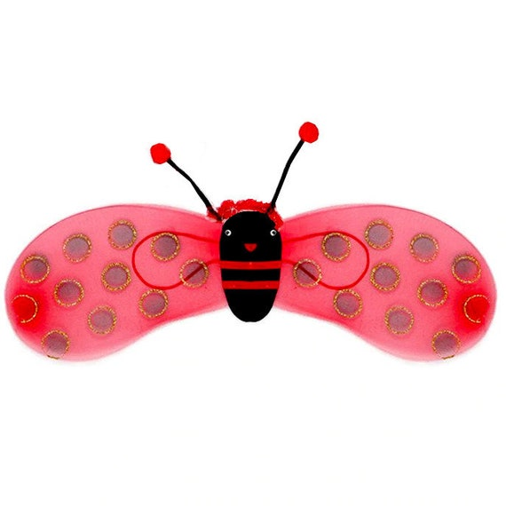 Puppy Bows ~ ladybug wings costume red glitter dots for large dog fit over 50lbs