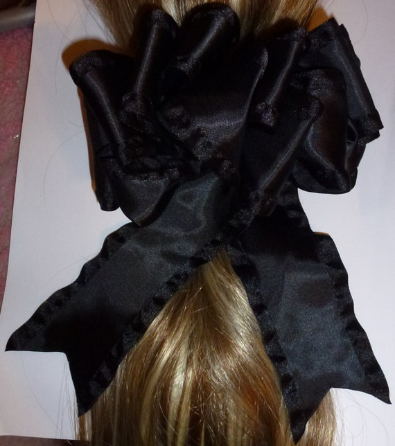 Becky Bows ~ OOAK ladies  Hand crafted taffeta ribbon BIG fashion hair bow Women or Girls  black satin