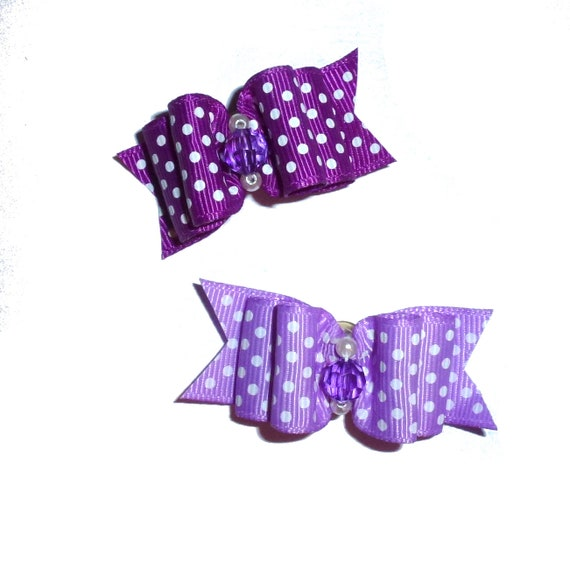 "Puppy Dog Bows ~ 7/8"" purple polka dots pet hair show bow barrettes or bands (FB199)"