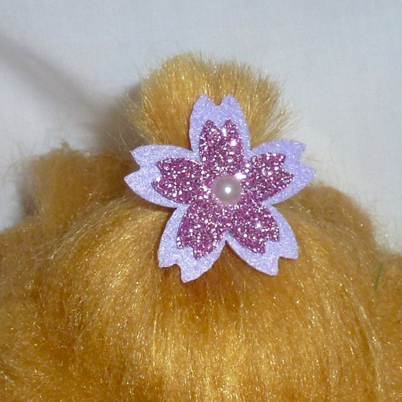 Puppy Bows ~Small glitter flowers blue pink purple dog barrette bow hair clips for pets ~USA seller (fb118)