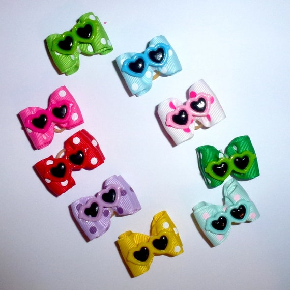 "Puppy Bows ~  Summer sunglasses heart dog show bows  7/8"" double loop  barrette or latex bands 9 colors!  ~USA seller"