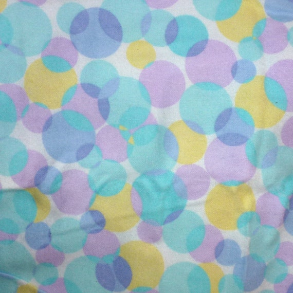 Puppy Bows craft supplies ~ flannel fabric 1 yard purple teal yellow bubbles polka dots