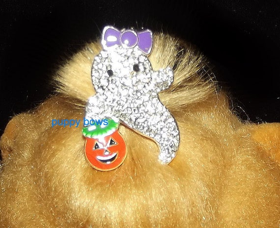 Puppy Bows ~Small  rhinestone GHOST crystal HALLOWEEN dog bow  pet hair clip barrette