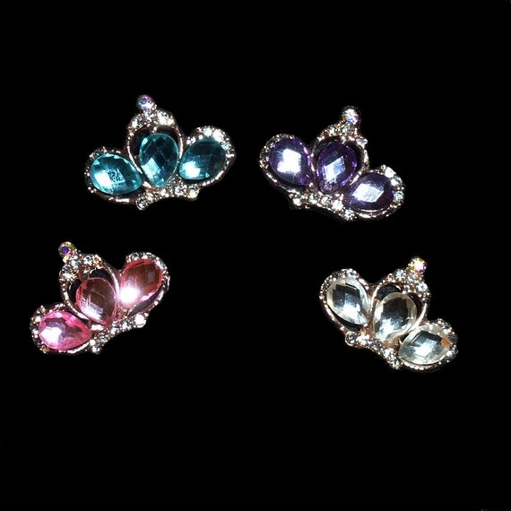 "Puppy Bows ~ TINY 1"" rhinestone crystal crown dog bow  pet hair clip topknot barrette pink or purple"