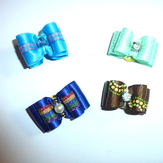 """Puppy Dog Bows ~ 5/8"""" satin bowknot SET OF 4! boys pet hair show bow barrettes or bands (FB164/28)"""