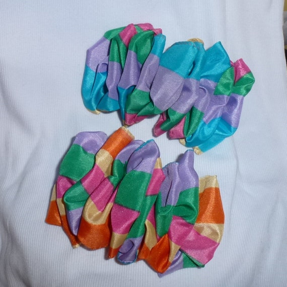 Becky Bows~  Barrette Hand crafted huge ribbon BIG hair bow Women or Girls giant rainbow stripes