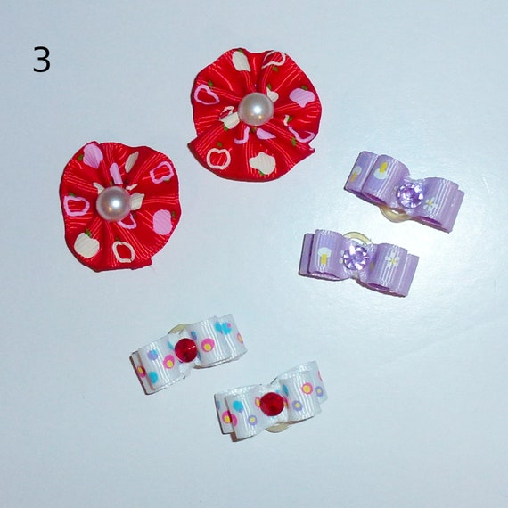 "Puppy Bows ~WEE TINY 3/8"" show bows pairs dog bow  pet hair clip barrette or latex bands (set3)"