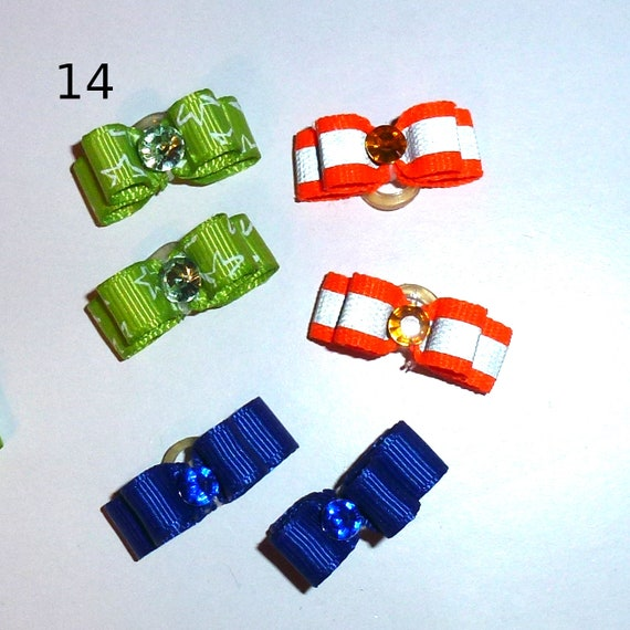 "Puppy Bows ~WEE TINY boys 3/8"" show bows pairs dog bow  pet hair clip barrette or latex bands (set14)"