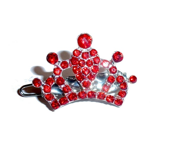 Puppy Bows ~ Small red rhinestone crown dog bow  pet hair clip topknot barrette Style (fb312)