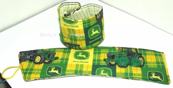 "CLEARANCE SALE 50% OFFPuppy Bows~2 over the collar dog pet bandana 8""-9"" neck  John Deere ~US Seller"