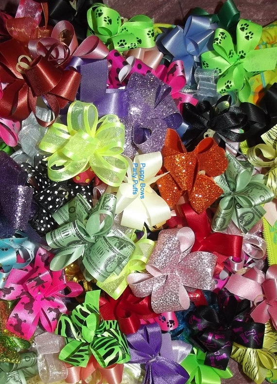 Puppy Bows ~ Party puffs dog grooming bows all colors US seller