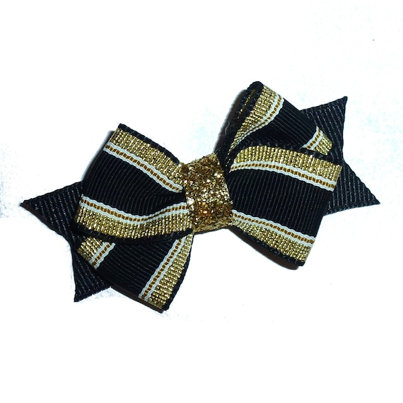 Puppy Bows ~Black gold stripe dog pet  hair bowknot bow bands or barrette or collar slide  (fb116)~USA seller