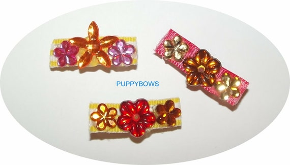 Puppy Bows ~Girls assorted sets of dog bow pink red purple  pet hair bows Pomeranian ~USA seller