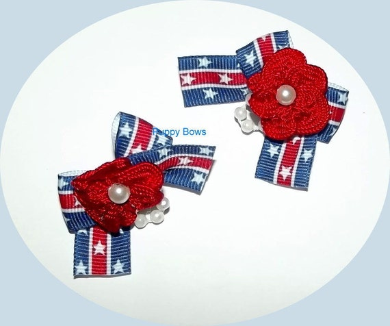 Puppy Bows ~Barrette or bands PATRIOTIC pearl bow pair 4th July dog grooming ~USA seller