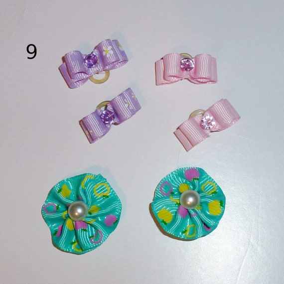 "Puppy Bows ~WEE TINY 3/8"" show bows pairs dog bow  pet hair clip barrette or latex bands (set9)"