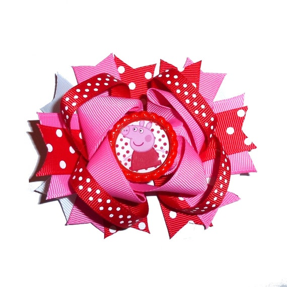 Puppy Bows ~ Dog collar slide bow large dog hair bows Pig pink red ~USA seller (dc2)