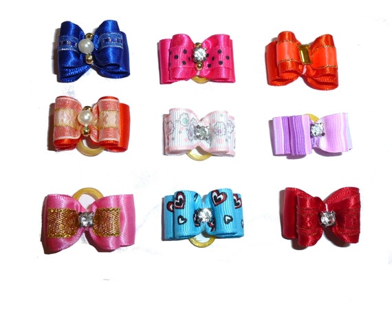 """Puppy Dog Bows ~ 5/8"""" pink red blue  pet hair show bow barrettes or bands (FB78)"""