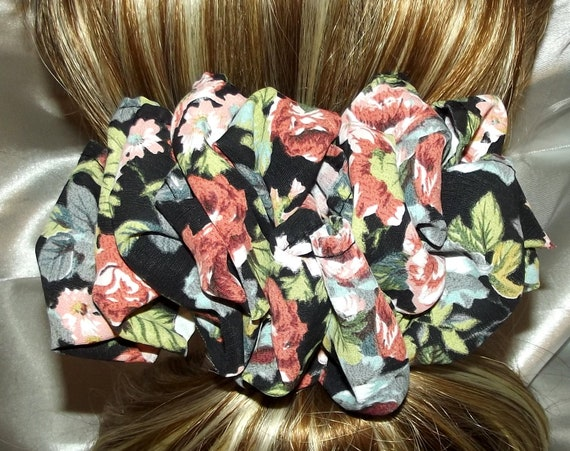 Becky Bows ~  Barrette scarf Hand crafted oversized  BIG hair bow Women or Girls black pink floral