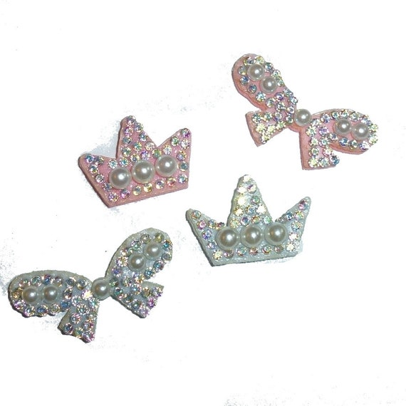 """Puppy Bows ~ pearl bowknot or crown small  around 1"""" pet hair bow  - (fb131)"""