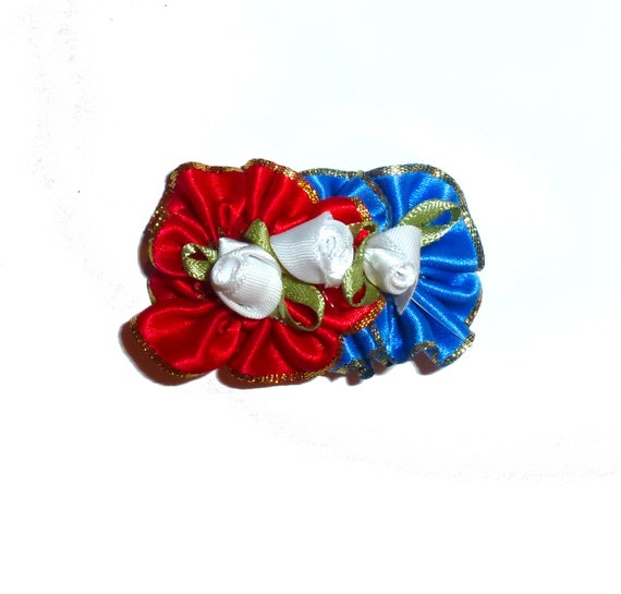 Puppy Bows patriotic 4th of July red white blue flower rosette   dog pet  hair bowknot bow bands or barrette (fb113)~USA seller