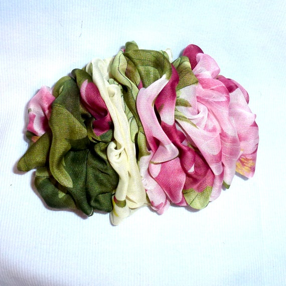 Becky Bows ~  Barrette  chiffon Hand crafted over sized  BIG hair bow Women or Girls green pink