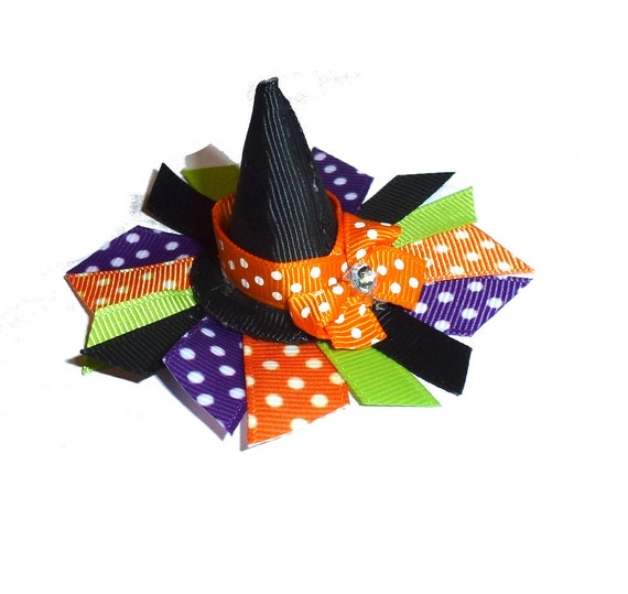 Halloween ribbon witches hat for dogs witch orange black bow hair barrette or headstrap (Fb203)
