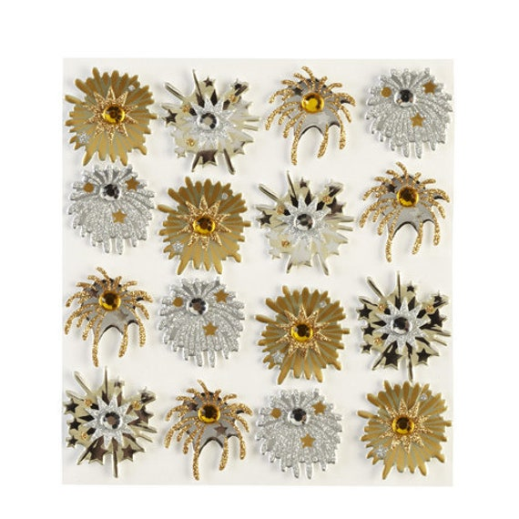 craft supplies scrapbook wall stickers fireworks gold silver medley dimensional  embellishments stickers 1 sheet