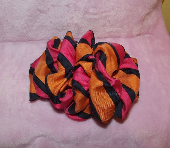 Becky Bows ~OOAK ROSETTE Barrette Hand crafted giant huge Scarf BIG hair bow Women or Girls orange pink