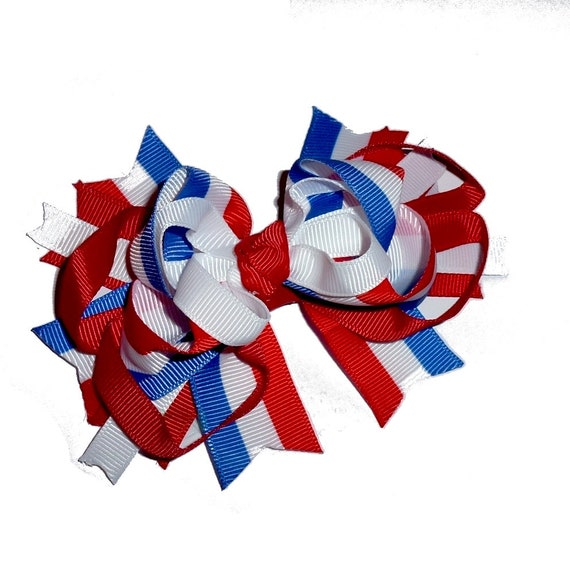 Puppy Bows ~ Memorial day 4th of July patriotic loopy bow tie dog collar slide decoration   ~USA seller (DC4)