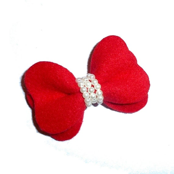 Puppy Dog Bows ~ Red velvet and pearls pet hair bow barrettes  (fb35)
